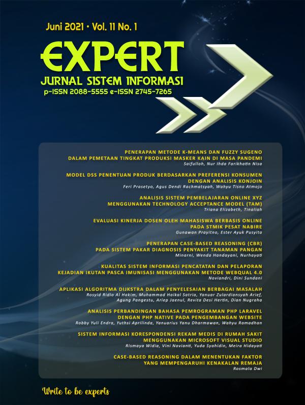 EXPERT: Jurnal Manajemen Sistem Informasi dan Teknolog Vol.11 No.1 Juni 2021